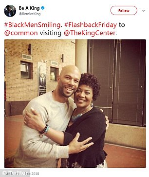 She would also post a throwback with rapper/actor Common and said: '#BlackMenSmiling. #FlashbackFriday to @common visiting @TheKingCenter'