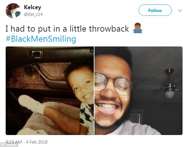 'I had to put in a little throwback #BlackMenSmiling,' said user Kelsey