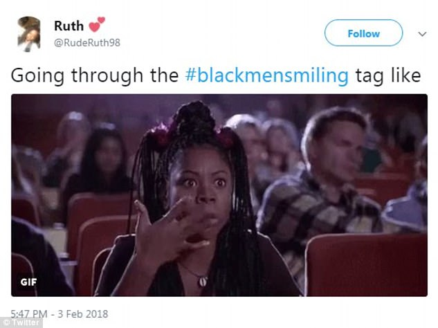 The sentiment was shared by Ruth who used a gif of Regina Hall in Scary Movie and said: 'Going through the #blackmensmiling tag like'