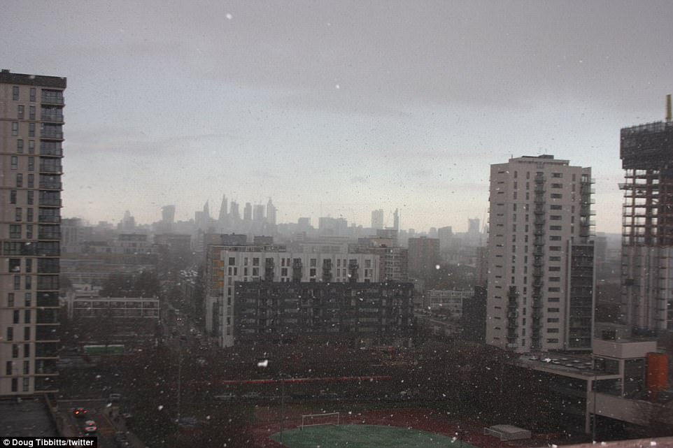 The Met Office issued a yellow weather warning for snow and ice across London - where flurries could be seen this morning