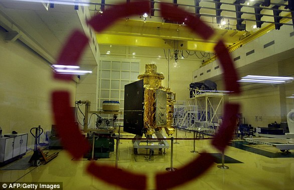 Chandrayaan-1 (pictured) was India's first lunar orbiter, launched in 2008. The £49 million ($69 million) mission was launched amid national euphoria