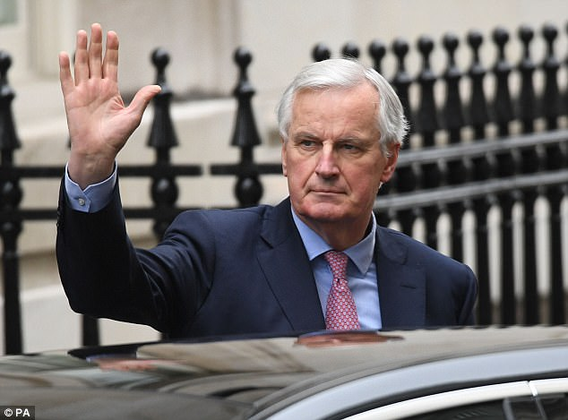 On a visit to Downing Street yesterday (Pictured), the EU's chief negotiator Michel Barnier insisted Britain must 'play by the rules' to obtain a transition deal