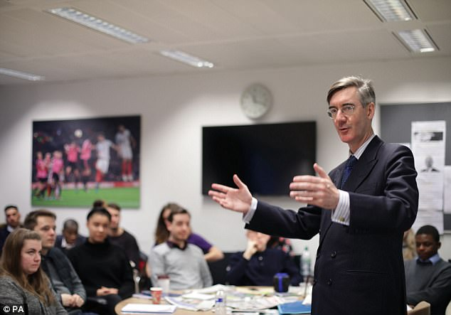 ToryMP Jacob Rees-Mogg (pictured addressing journalism students in London yesterday) said the government must 'be strong' in rejecting new EU laws