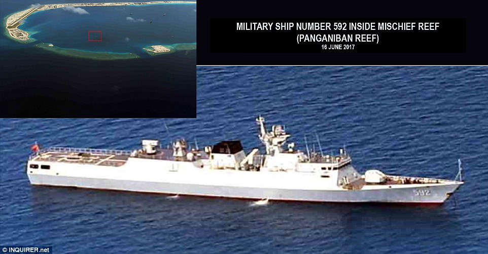 One of the fortresses is situated on Panganiban, a reef which a United Nations-backed court has previously ruled belongs to the Philippines, it is reported. Pictured: a Chinese missile frigate