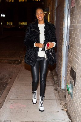 Fur-ever sexy: Lais Ribeiro mixed up her look as she teamed her fur jacket with PVC trousers for a different look