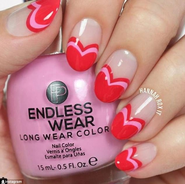 French kisses and nails: YouTube vlogger Hannah Lee of the channel HannahRoxNail created a French tip in the shape of a heart for the upcoming holiday