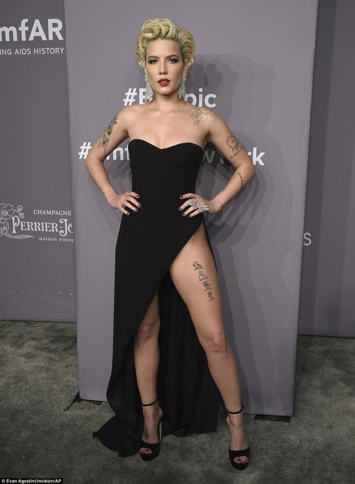 Halsey, 23, was dressed in a strapless black gown with a sweetheart neckline