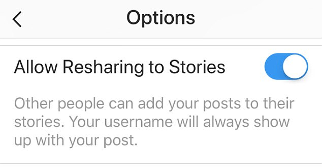 Creator of Command for Instagram Zachary Shakked sharedan image of the re-sharing privacy setting option, which explains that if the feature is on, other people can add your posts to their stories and your username will always show up with the shared post