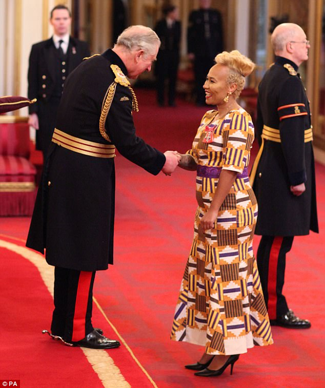 Dazzling:Clad in a printed maxi dress, the Next To Me hitmaker looked elegant as she spoke with the Prince of Wales at the ceremony