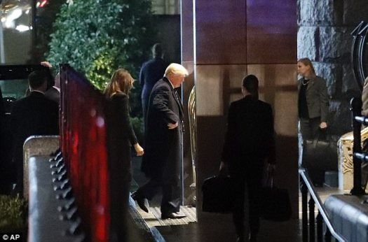 President Donald Trump and First Lady Melania Trump were seen headed into the Trump International Hotel on Sunday