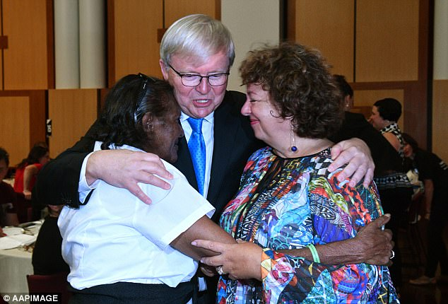 Kevin Rudd is pictured Stolen Generation survivors at a breakfast to mark the 10th anniversary of Australia's apology