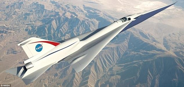 LBFD aims to cut out the noisy sonic booms that echoed above cities in the era of Concorde, while travelling at speeds of 1,100mph (Mach 1.4 / 1,700 km/h). Pictured is an concept design of the Quiet Supersonic Transport (QueSST) low-boom flight demonstrator (LBFD)