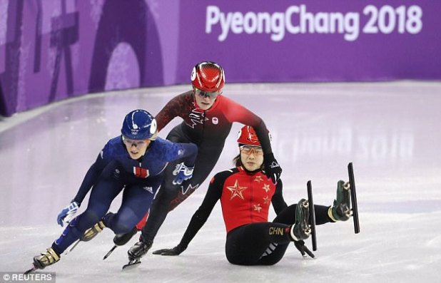 Short Track Speed Skating queen Elise Christie in action today as she qualifies for the final