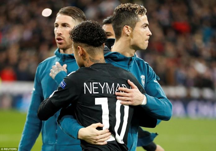 Neymar and Ronaldo, two bona fide superstars of the game, embrace ahead of the last-16 clash at the Bernabeu