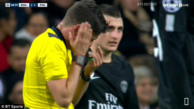 Referee Gianluca Rocchi learnt a valuable lesson not to get too close to Neymar