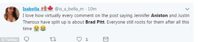 Shipping: Twitter exploded with reaction to Jennifer Aniston's break-up news on Thursday, and every single tweet had two words in common: Brad and Pitt