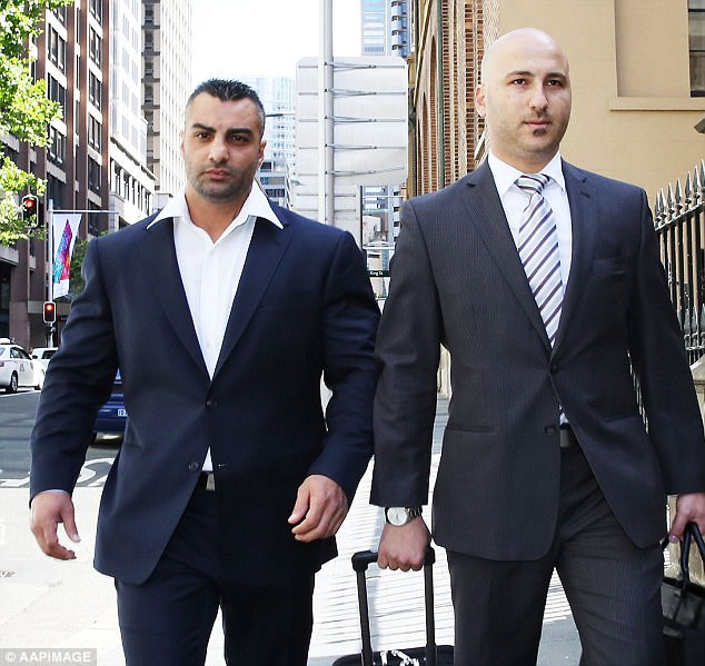 Former Bikie boss Mahmoud Hawi (L) arriving with his lawyer at the Supreme Court in Sydney, November 28, 2014