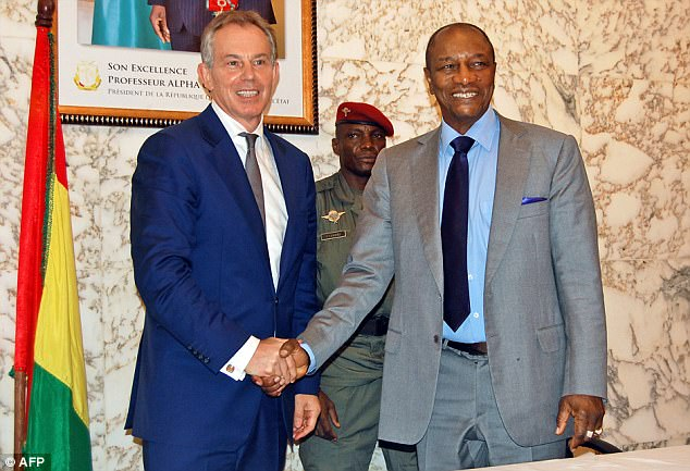 Mr Soros' organisation in 2012 £429,000 hiring Blair and his aides to help the leader of Guinea, Alpha Conde, 'manage and execute his ambitious reform agenda effectively'