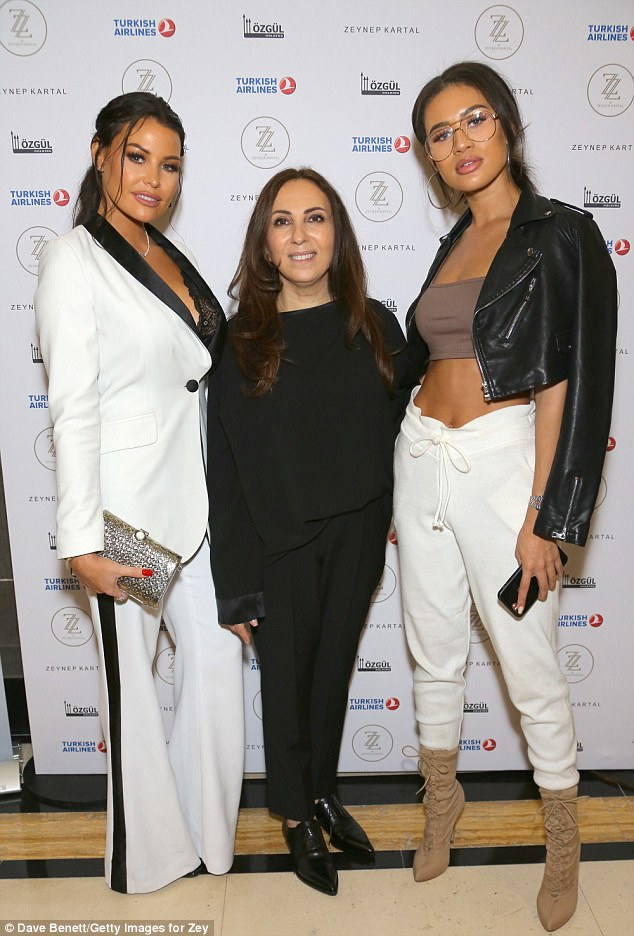 Star-studded: Jess was also seen meeting designer Zeynep Kartal (middle) at her fashion show, along with Love Island star Montana Brown