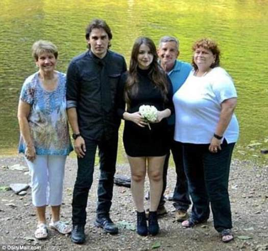 Steven and Katie got 'married' in a lakeside ceremony in July not long before she gave birth to their baby. They are pictured with her adoptive parents (right) and his mother who attended it despite its incestuous nature