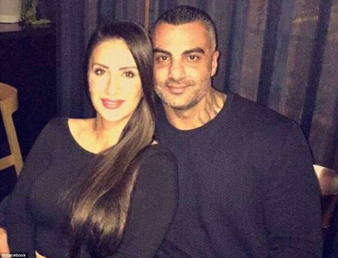 Slain bikie Mick Hawi pictured with wife Carolina - theComanchero bikie boss' funeral was held on Thursday