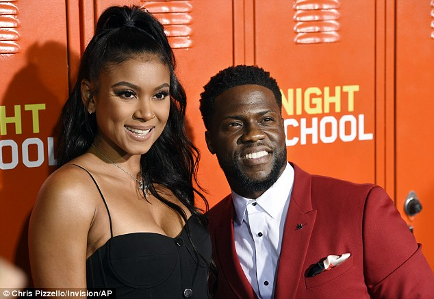 Hart and his better half: Hart took in the Night School premiere on Monday in Los Angeles with his wife, Eniko Parrish