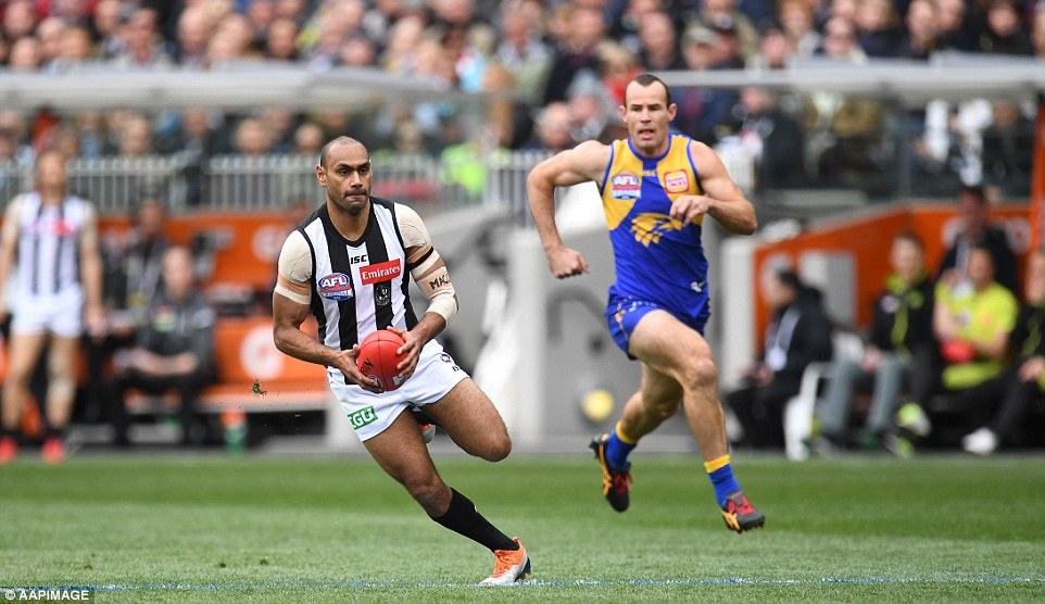 West Coast won contested possessions and had more clearances but couldn't keep the ball out of Collingwood's forward 50 and struggled to keep pace in the midfield. Varcoe pictured running ahead of Shannon Hurn seconds before kicking his goal