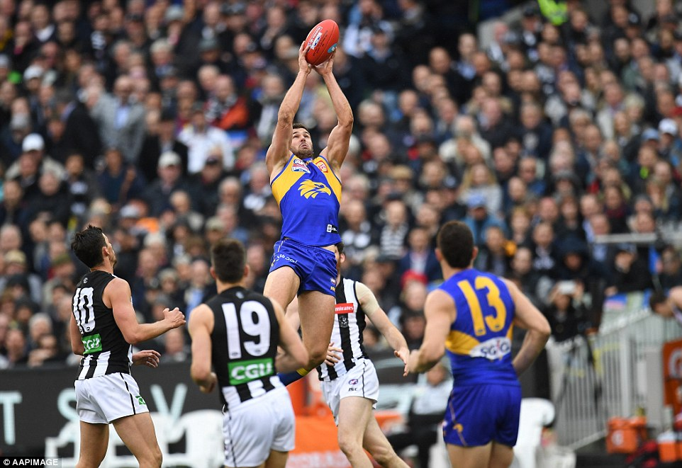 After being kept in check during the first half, Jack Darling (pictured) had a huge second half, scoring a goal and taking marks all over the ground as the Eagles pushed forward repeatedly
