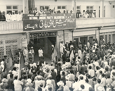 NAP-Wali leaders, Wali Khan and Ghaus Baksh Bezenjo speak to supporters from the balcony of the party's office in Quetta soon after winning the 1970 election in Balochistan (and KPK).