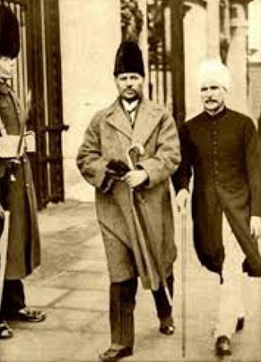 Iqbal (left) takes a walk with prominent Ahmadiyya leader in the Muslim League, Zafarullah Khan, in London. Iqbal was a great admirer of the founder of the Ahmadiyya community, Mirza Ghulam Ahmad, before breaking away from the movement in 1935. Zafarullah went on to hold a top position in the Pakistani government after the country's creation in 1947.