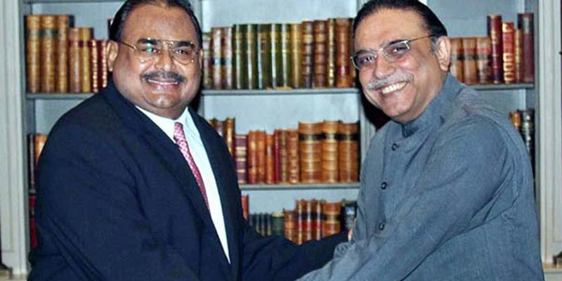 "Zardari said MQM was going through a ""difficult time"" and vowed not to leave it alone in these ""times of trouble.""- APP/File"