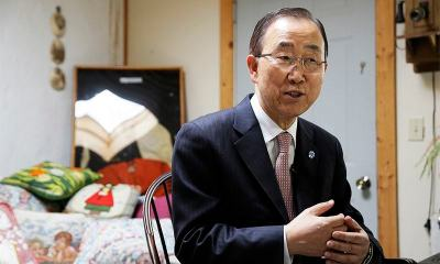 In this photo taken August 11, UN Secretary-General Ban Ki-moon sits during an interview in Novato, Calif.—AP