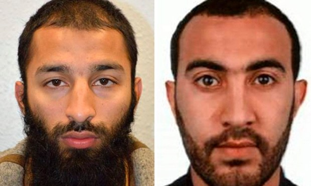An undated handout picture released by the British Metropolitan Police Service in London on June 5, shows Khuram Shazad Butt (L) and Rachid Redouane from Barking, east London, believed by police to be two of the three attackers in the June 3 terror attack on London Bridge.— AFP