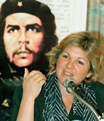 Che's daughter speaking at the seminar in Tehran just before she was escorted back to the airport.