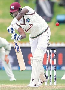 WELLINGTON: West Indies captain Jason Holder is bowled for 61 during the second Test against New Zealand at Basin Reserve on Monday.—AFP