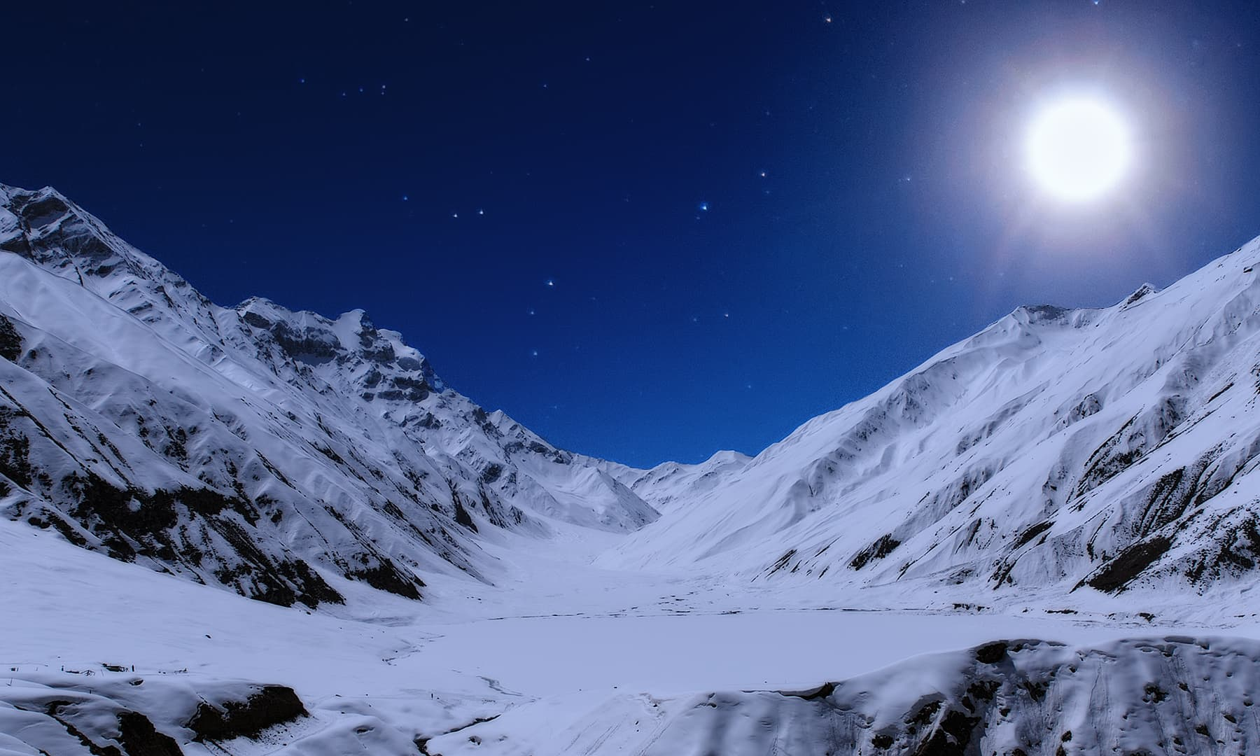 A frozen Lake Saif-ul-Malook under the moon.