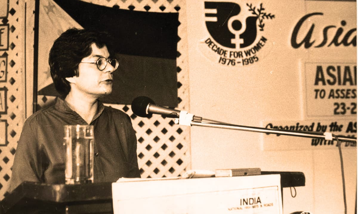 Speaking in Bangkok at the preparatory meeting for the UN Women's Conference in Nairobi, 1985