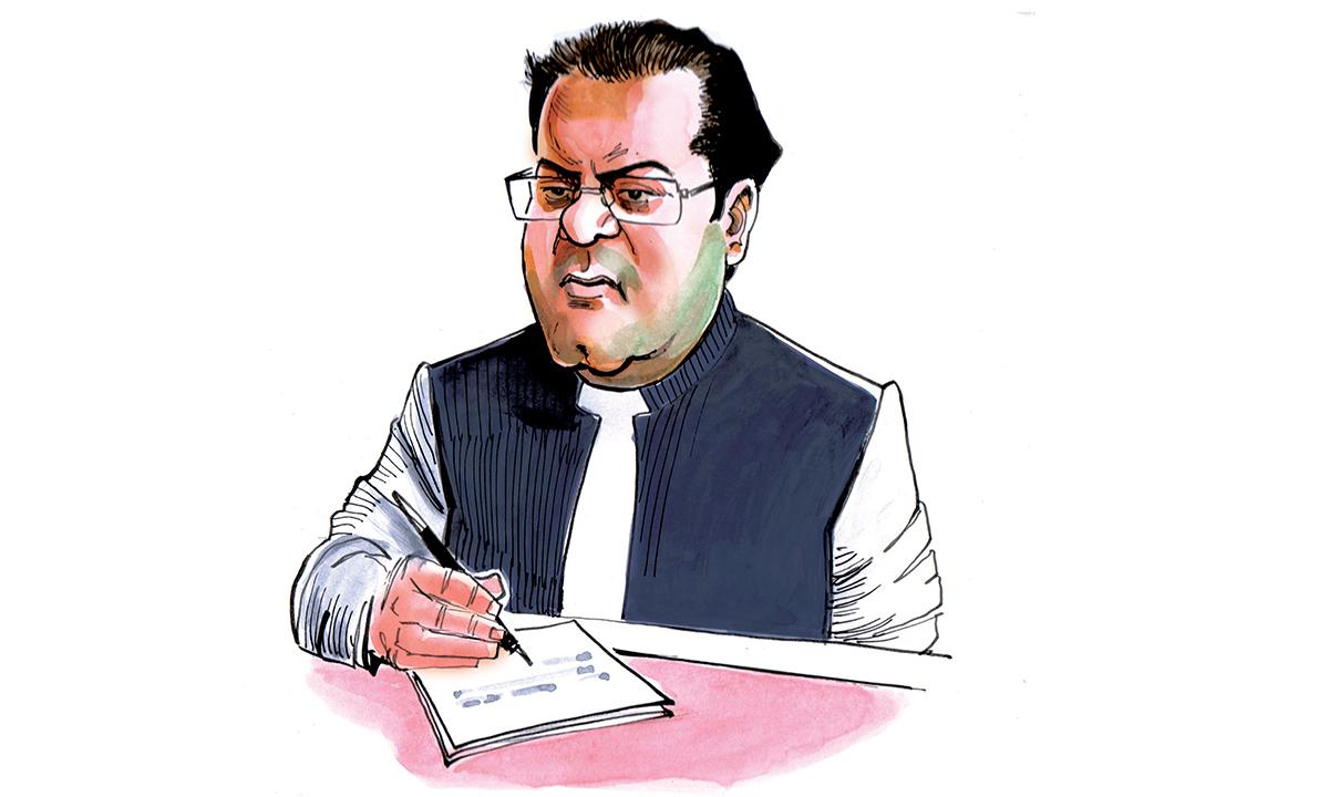 A caricature of Hussain Nawaz — Sabir Nazar/Herald.