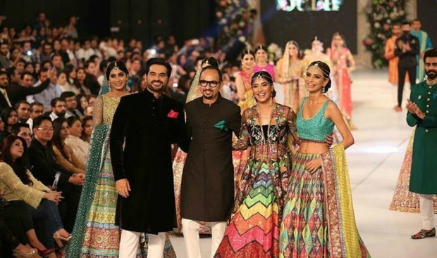 As showstopper with Mehwish Hayat for Nomi Ansari at PLBW 2016