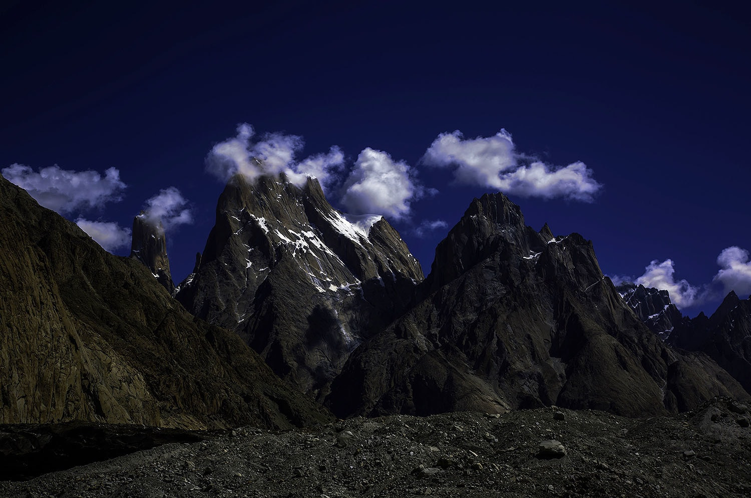 Trango Towers (L) and Lobsang Spire (R). Also visible is the famous Nameless Tower to the left of Trango.