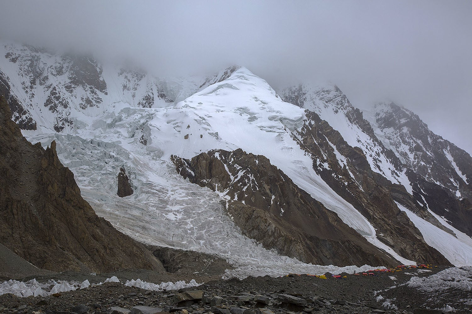 A view of the K2 base camp.