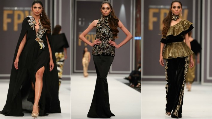 Maheen Karim's trailing capes, jackets, embroidered velvet pants were winners