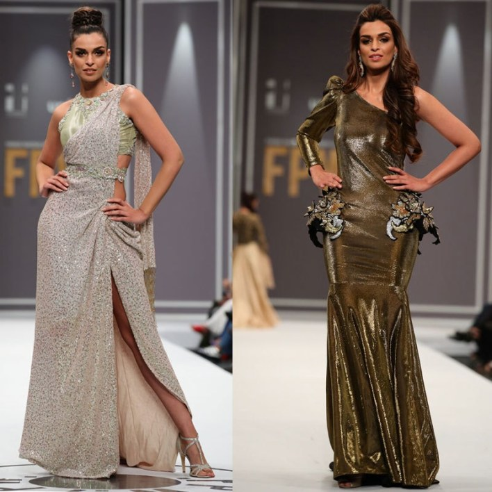 Sahrish Khan in a Rozina Munib ensemble (left) and Maheen Karim dress (right)
