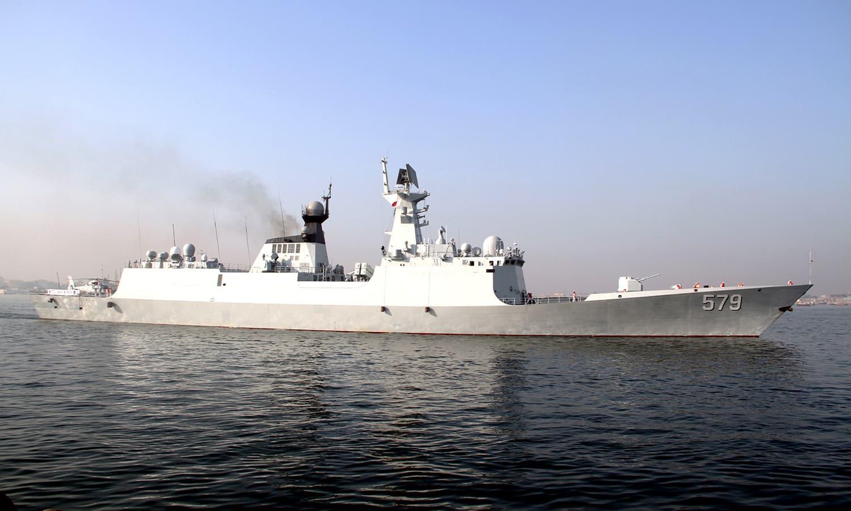 Chinese Navy ship Handan arrives at Karachi port. ─Navy PR
