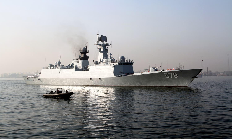 Chinese Navy ship Handan arrives at Karachi port today. ─Navy PR