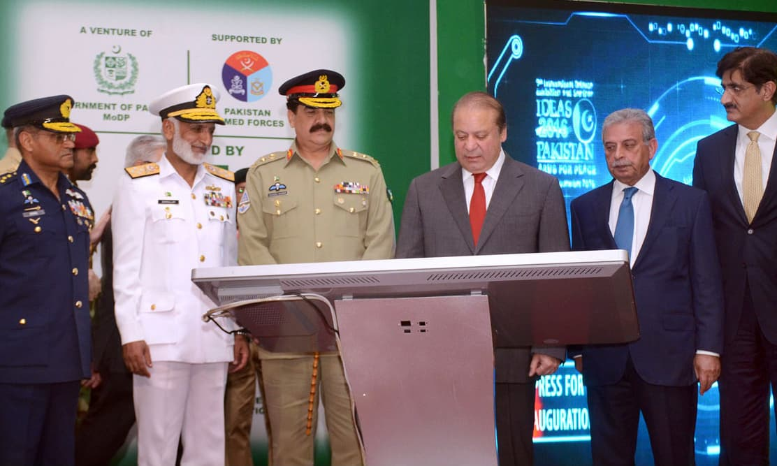 Prime Minister Nawaz Sharif inaugurating the 9th International Defence Exhibition IDEAS-2016. —APP