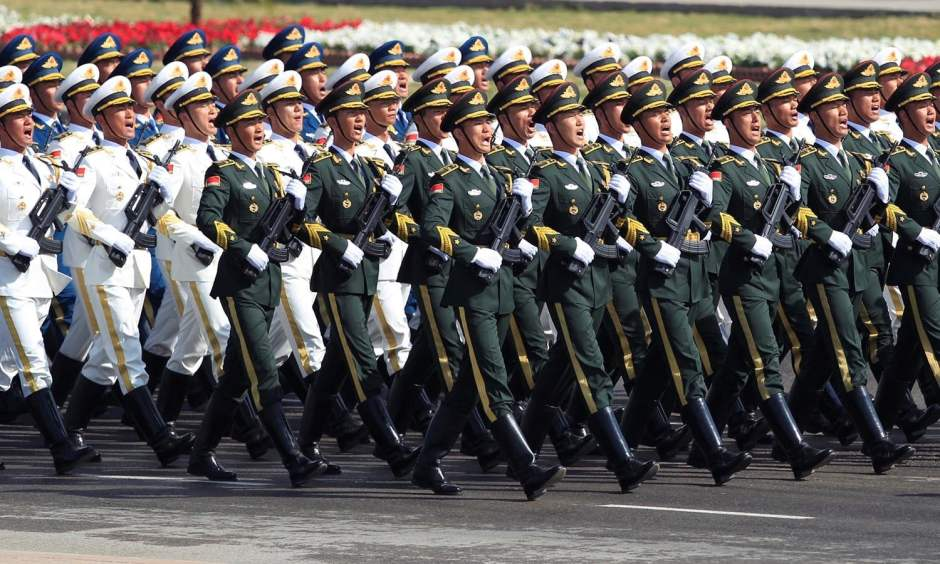 Chinese troops march as they take part in Pakistan Day military parade. ? AFP