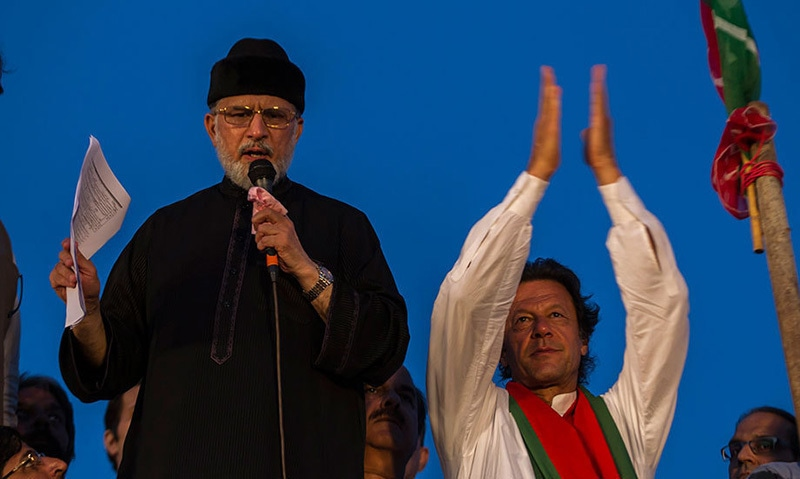 Imran Khan and PAT chief Tahirul Qadri put on a show during the 2014 dharna. ─ Dawn/File