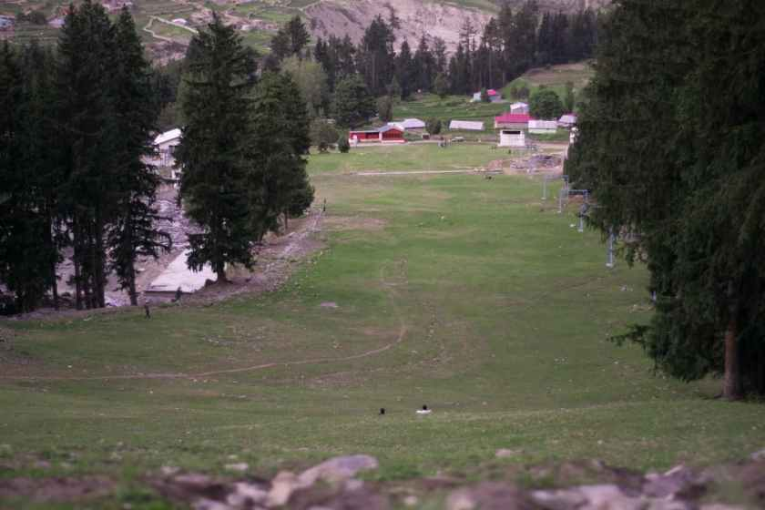 The ski slope during the summers