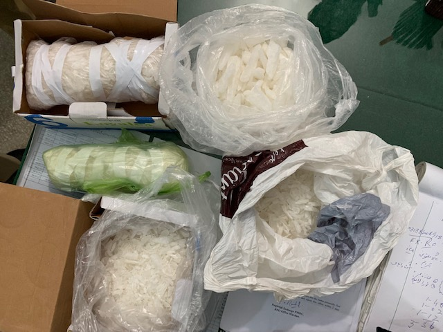 Processed crystal meth packed in plastic bags.